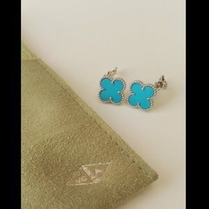 VAN CLEEF & ARPELS TURQUOISE ALHAMBRA EARRINGS